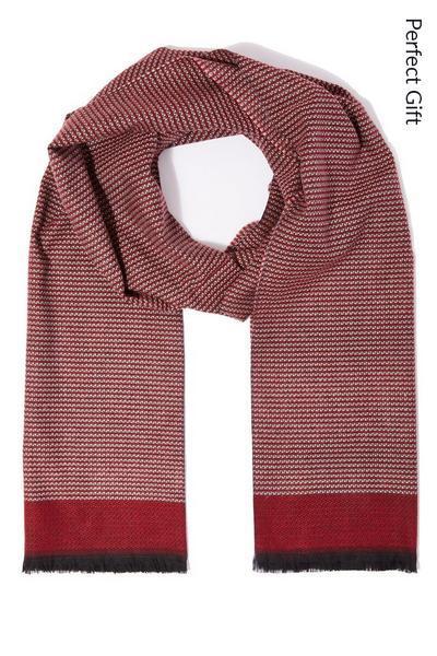 Red Herringbone Cotton Scarf
